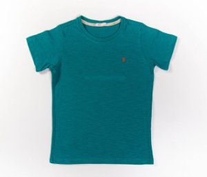 Camisa Infantil Gola Careca Malha Flamê Cor Verde