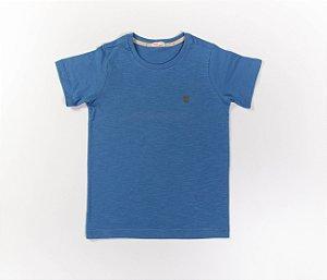 Camisa Infantil Gola Careca Malha Flamê Cor Azul