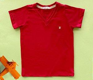 Camisa Infantil Gola V Malha Flamê Cor Vermelha