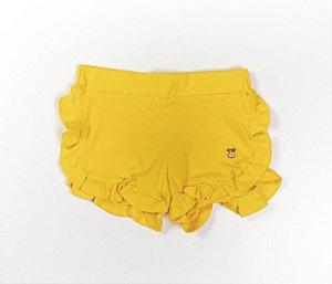 Short babados Infantil Malha Canelada amarelo