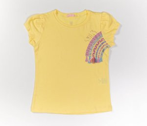 Conjunto Infantil Meia Malha com Short Tactel estampa arco-íris cor amarelo