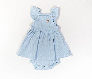Francês Body Bebê Malha Canelada Cor Azul