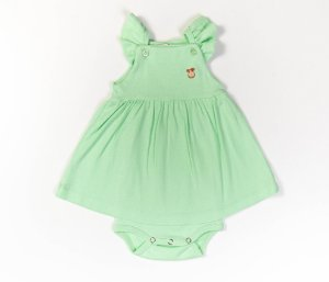 Francês Body Bebê Malha Canelada Cor verde