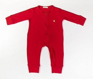 Macacão Longo Bebê com Zíper Cotton Cor Vermelho