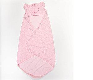 Toalha Infantil com Capuz Cor Rosa