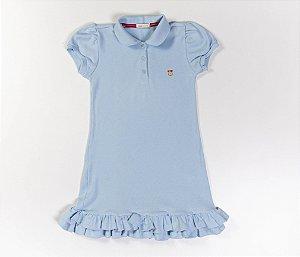 Vestido Gola Polo Infantil Malha Canelada Cor Azul