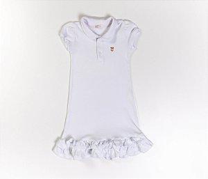 Vestido Gola Polo Infantil Malha Canelada Cor Branco