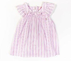 Francês Bebê Tecido Plano Laço Listras Rosa