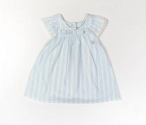 Francês Bebê Tecido Plano Laço Listras Azul