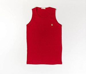 Camiseta Infantil Nadador Malha Canelada Cor Vermelho
