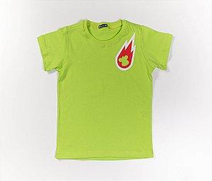 Conjunto Infantil Meia Malha com Bermuda Tactel estampa Planetas Verde