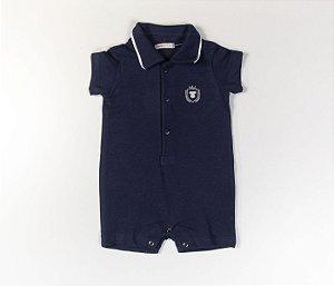 Francês Bebê Polo Malha Piquet Azul
