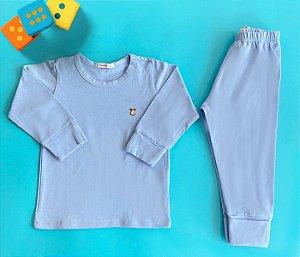 Pijama Infantil Manga longa e Calça Cotton Cor Azul Claro