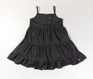 Vestido Infantil em Camadas Malha Denin preto