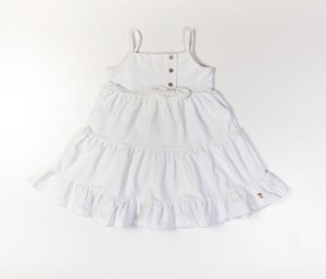 Vestido Infantil em Camadas Malha Denin Branco