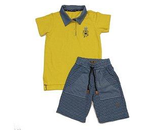 Combo1: Gola Polo infantil Piquet amarela mais bermuda infantil
