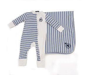 Combo 2 : Macacão Bebê estampado mais Manta listrada azul