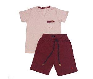Combo 4 - Bermuda de moleton vermelha + Camiseta em V bordo com bolso