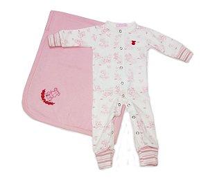 Combo3 : Macacão Bebê estampado mais Manta rosa, mais conforto e praticidade para as mamães.