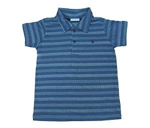 Gola Polo infantil listrada azul, muito conforto e estilo.