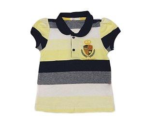 Blusa Gola Polo Piquet Listrada Infantil Amarela, cheia de estilo para sua pequena.