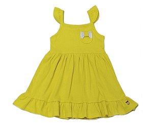 Vestido infantil amarela básico cheio de estilo.