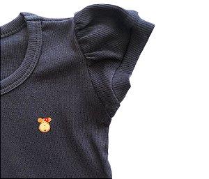 Blusa Infantil Baby Look Malha Canelada Cor Azul