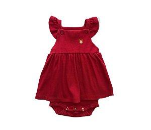 Francês Body Bebê Malha Canelada Cor vermelha