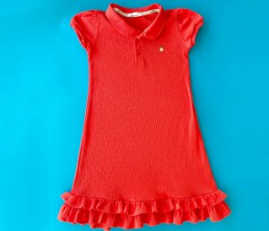 Vestido Gola Polo Infantil Malha Canelada Cor laranja