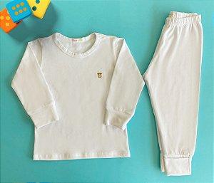 Pijama Infantil Manga longa e Calça Cotton Cor Branco