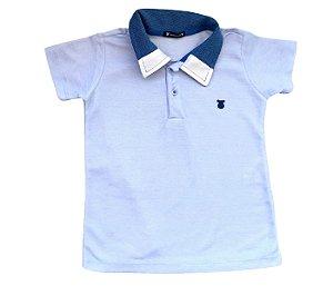 Camisa gola polo azul, muito mais estilo e conforto.