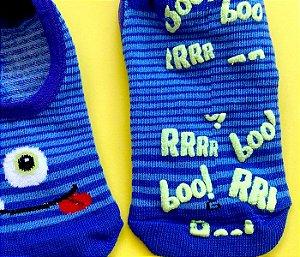 Meias bebê antiderrapante básica azul monstrinho