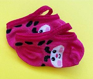 Meia bebê antiderrapante básica rosa joaninha