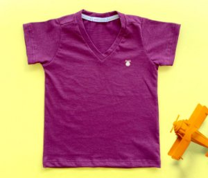 Camisa Infantil Gola V Malha Flamê Cor Bordo