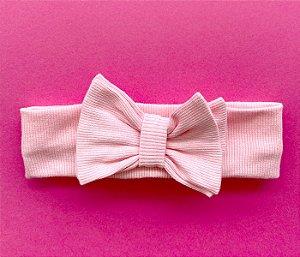 Tiara com laço duplo rosa claro