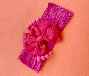 Tiara com laço duplo para bebês básica pink