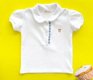 Blusa Polo Branca infantil feminina, muito conforto e estilo