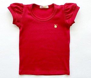 Blusa Infantil Baby Look Malha Canelada Cor vermelho