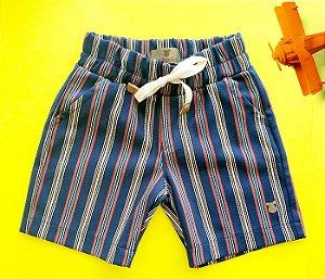 Bermuda Infantil Listrada Azul Marinho