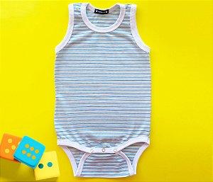 Body Bebê Básico Listra Azul