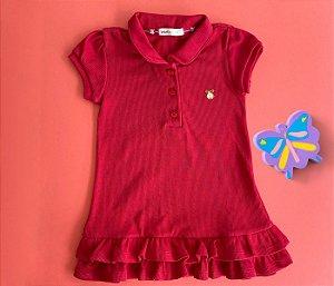 Vestido Gola Polo Infantil Malha Canelada Cor Vermelho