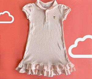 Vestido Gola Polo Infantil Malha Canelada Cor Rosa Claro