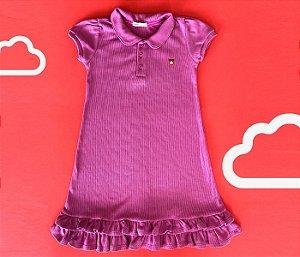 Vestido Gola Polo Infantil Malha Canelada Cor Lilás