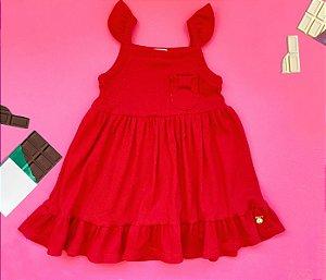 Vestido infantil vermelho básico cheio de estilo.