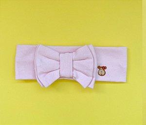 Tiara com laço duplo básica rosa