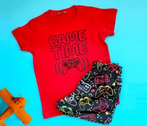 Conjunto infantil básico estampa video game