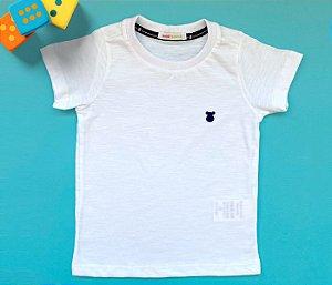 Camisa Infantil Gola Careca Malha Flamê Cor Branco