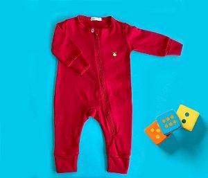 Macacão Longo Bebê Cotton Cor Vermelho