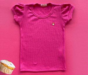 Blusa Infantil Malha Canelada cor Pink