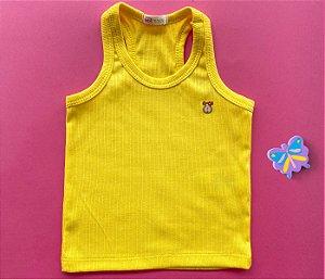 Camiseta Infantil Malha Canelada Cor Amarela